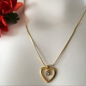 Gold Open Heart Rhinestone Gem Necklace Vintage